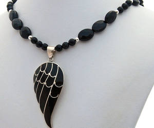 angel wing, christmas, and black silver image