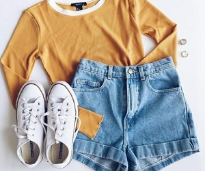 outfit, shorts, and yellow image