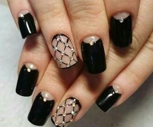 black colors, nails, and nailarts image