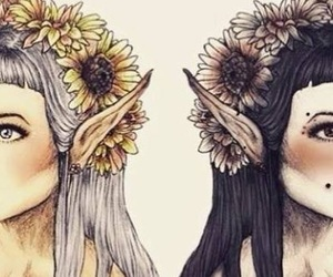 elf, fairy, and flowers image
