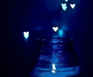 blue, hearts, and candle image