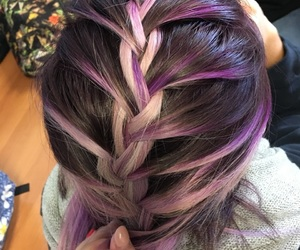 hair, violet, and treccia image