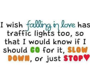 love, quote, and traffic lights image