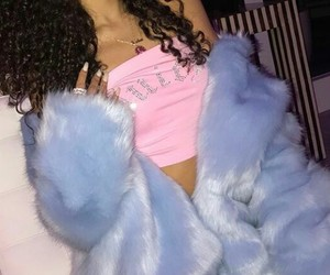 bling, fur coat, and pink and blue image
