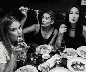 bella hadid, black and white, and food image