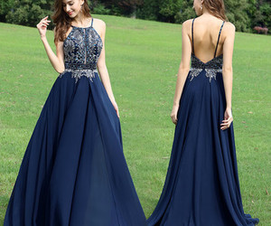 beading, halter, and navy blue image