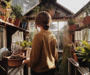 girl, plants, and flowers image