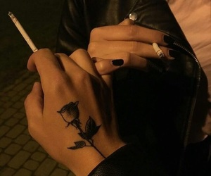 tattoo, cigarette, and hands image