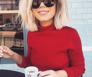 coffee, girl, and red image