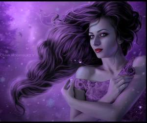 lavender purple girl and fuschia dress purple hair image