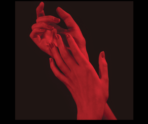 red, hands, and aesthetic image