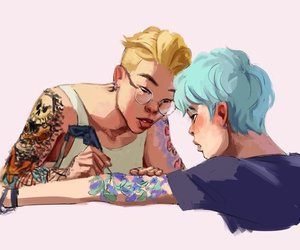kpop, tattoo, and art drawing image