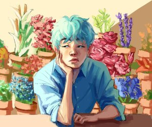 flower boy, kpop, and art drawing image