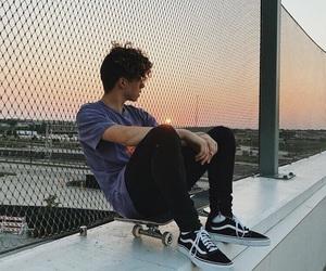 jack avery, sunset, and skateboard image