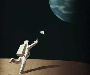 art, homesick, and astronaut image