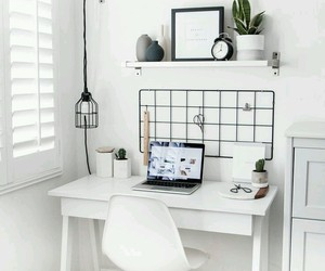 interior, white, and desk image