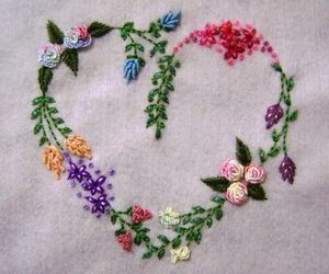 flowers, embroidery, and heart image