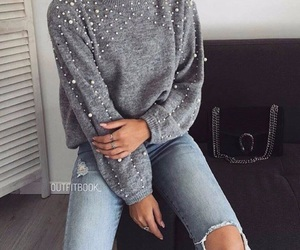 blue, girl, and pullover image
