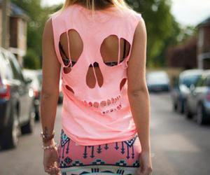 skull, pink, and cool image