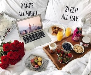 bed, colors, and food image