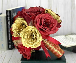 etsy, paper rose bouquet, and paper book flowers image