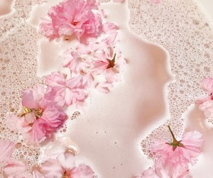 flowers, pink, and bubbles image