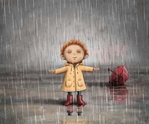 child, rain, and cute image