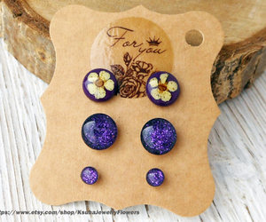 etsy, purple jewelry, and purple earrings image