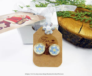 etsy, blue flower studs, and forget-me-nots studs image