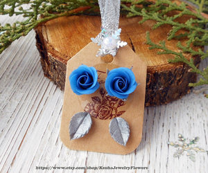 etsy, christmas earrings, and blue earrings image