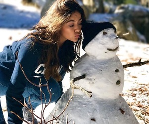 girl, snowman, and cold image