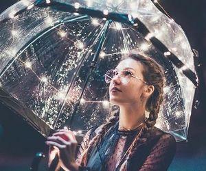 girl, light, and umbrella image