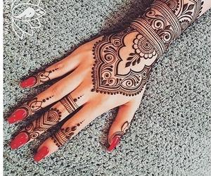 mehndi, nails, and red nail polish image