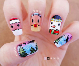 christmas, nails, and snowman image