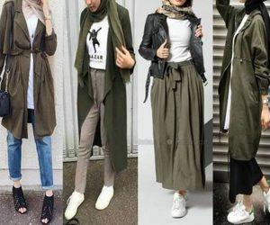 hijab and olive coat image