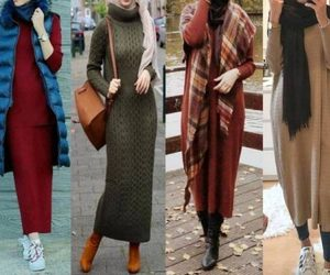 hijab, jeans, and knitted dress image