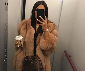 coat, fur, and Louis Vuitton image