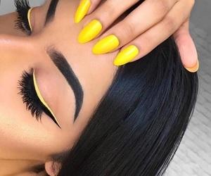 nails, makeup, and yellow image