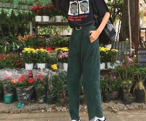 flowers, grunge, and outfit image