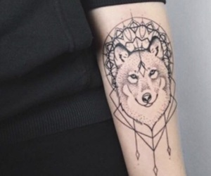 black, wolf, and tattoo image
