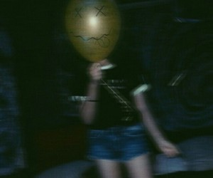 girl, balloon, and dark image