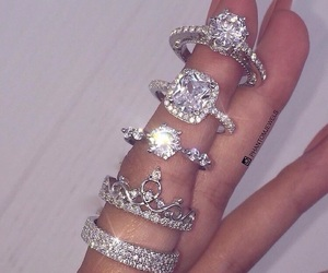 diamond, rings, and girl image