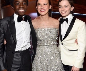 millie bobby brown, noah schnapp, and caleb mclaughlin image