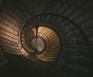 brown, stairway, and spiral image