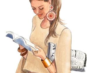 art work, fashion illustration, and newspaper image