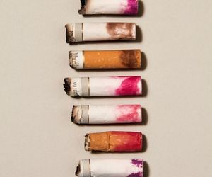 cigarette, lipstick, and smoke image