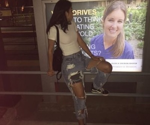 hair, outfit, and ripped jeans image