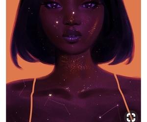 art, astrology, and black girl art image