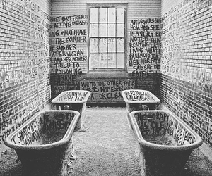 black and white, words, and asylum image