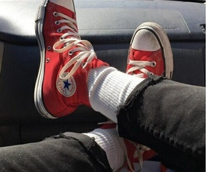 red, converse, and aesthetic image